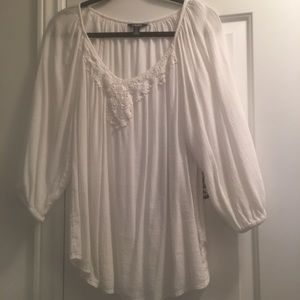 CHAPS-white 3/4 sleeve top